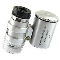 Pocket Microscope 60x Magnifier with UV Light - Silver