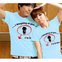Kaos Couple / Baju Pasangan / Soulmate I love thinking of you Biru tosca