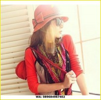 topi fashion korea cewek summer hat pita merah list hitam jto036