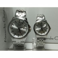 Jam Tangan Couple Alexandre Christie Ac8402 White Silver Original