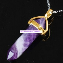 Liontin Point Chakra Natural Amethyst Pendant Necklace