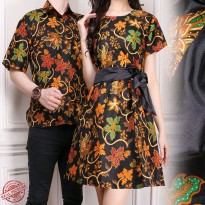 Glow Fashion Couple batik dress maxi pendek wanita mini dress dan atasan kemeja pria shirt Cania