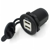 Motorcycle USB Charger 2 Port - Black