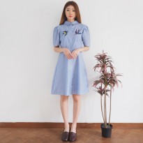 Jo & Nic Zahra Stripes Swallow Embro Dress - Dress Wanita / Dress Mini Wanita