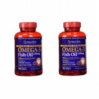 Puritan Pride - Paket 2 Botol Double Strength Omega 3 Fish Oil @90 Softgels