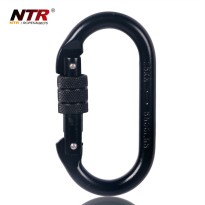 NTR Oval Quick Release Carabiner Screw Safety Lock - Black