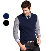 (Brother Joey) Sweater Vest Basic Katun Pria 2 warna 4 ukuran [S M L XL]