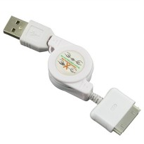 Taff Retractable Charging SYNC Kabel data iPhone 4/4s 80Cm - White