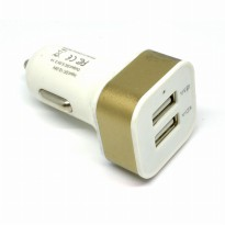 Square Head Dual USB Car Charger 2.1A - White/Gold