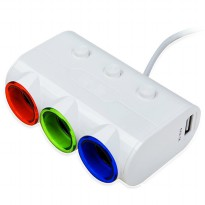 Yantu Car Charger Splitter 3 Socket with Lighter and LED Indicator 120 W - White