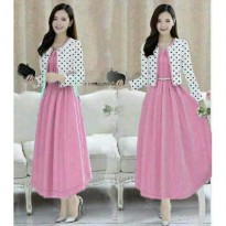 LONG DRESS LILI JERSEY +CARDI POLKA BABYTERRY FIT TO L BESAR