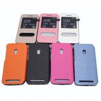 Taff Leather Flip Case Double Window for Asus Zenfone 4s - Pink
