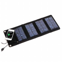 Foldable Solar Power Bank 7W with 4 Solar Panel - S07 - Black