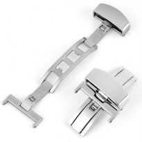 Clasp Buckle Stainless Steel Jam Tangan Size 18mm - Silver