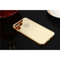 Aluminium Bumper with Mirror Back Cover for iPhone 7 Plus - Golden
