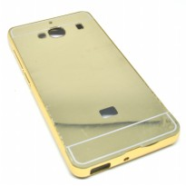 Aluminium Bumper with Mirror Back Cover for Xiaomi Redmi 2 - Golden
