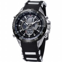 Weide Japan Quartz Silicone Strap Men LED Sports Watch 30M Water Resistance - WH1103 - Black