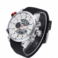 Weide Japan Quartz Silicone Strap Men Sports Watch 30M Water Resistance - WH3401 - White/Silver