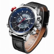 Weide Japan Quartz Leather Strap Men Sports Watch 30M Water Resistance - WH3401 - Silver Black