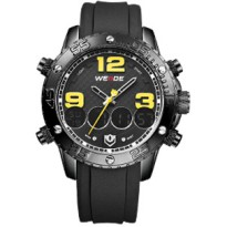 Weide Japan Quartz Silicone Strap Men Sports Watch 30M Water Resistance - WH3405 - Black/Yellow