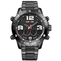 Weide Japan Quartz Stainless Strap Men Sports Watch 30M Water Resistance - WH3405 - Black White