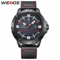 Weide Universe Series Quartz Leather Strap Water Restistant 30m- UV1608 - Black/Red