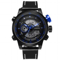 NORTH Jam Tangan Analog Digital Strap Kulit - 6015 - Blue