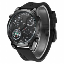 Weide Universe Series Dual Time Zone Compass 30M Water Resistance - UV1505 - Black/Black