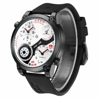 Weide Universe Series Dual Time Zone Compass 30M Water Resistance - UV1505 - White/Red