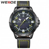 Weide Universe Series Quartz Leather Strap Water Restistant 30m- UV1608 - Black/Yellow