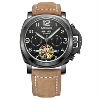 MEGIR Jam Tangan Mechanical - ML3206AG - Brown/Black