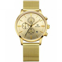 MEGIR Mesh Chrono Jam Tangan Analog - MS2011G - Golden