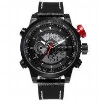 NORTH Jam Tangan Analog Digital Strap Kulit - 6015 - Black