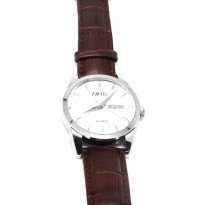 Nary Jam Tangan Analog Strap Kulit - 1901 - Brown/White