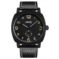Nary Jam Tangan Analog Strap Kulit - 6121 - Black/Yellow
