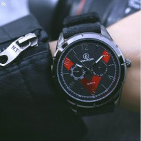 Promo! JAM TANGAN PRIA VOLCOM KANVAS CHRONO ACTIVE BLACK COVER RED