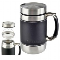 Perlengkapan Rumah SHUMA VACUUM STAINLESS TERMOS MUG BODY & HANDLE LEATHER 6OOML VMUG600