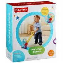Mainan dorong Fisher Price pop n push elephant Y8651