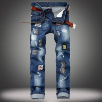 [globalbuy] new badge embroidery tide male hole jeans patchwork straight mens jeans Slim d/4064273