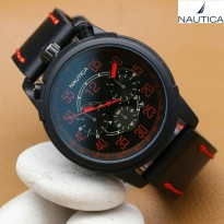Promo! JAM TANGAN PRIA NAUTICA KULIT CHRONO ACTIVE BROWN ANGKA ORANGE
