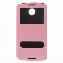 Taff Leather Case Double Window Filp Case for Google Nexus 6 - Pink