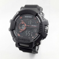 Promo! JAM TANGAN PRIA DIGITEC DIGITAL ORI ANTI AIR BLACK (ORANGE)