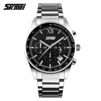 SKMEI Jam Tangan Analog Stainless Steel - 9096CS - Black