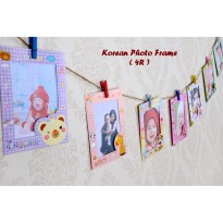 Korean Photo Frame (4R) Bingkai foto gantung,dilengkapi tali & jepitan - 1 set isi 9 Lembar