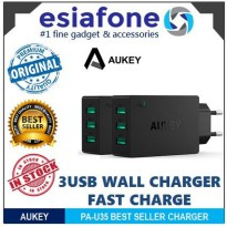[esiafone original] AUKEY 3 Ports USB Wall Charger with 30W/6A AiPower Fast Charging Technology