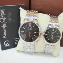 Jam Tangan Couple Alexandre Christie 8504 Silver Black Original