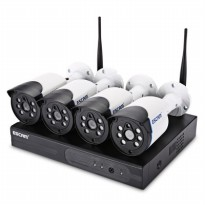 ESCAM Wireless NVR Kit HD 4Ch with 4 CCTV 720P - WNK404 - Black