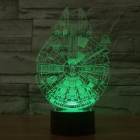 Lampu 3D LED Transparan 7 Color Design Millennium Falcon - Multi-Color