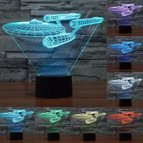 Lampu 3D LED Transparan 7 Color Design Star Trek - Multi-Color