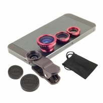 Fish Eye Lens 3 in 1 Universal Clip | Wide Angle Macro | Lensa Fisheye